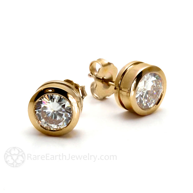 Rare Earth Jewelry Bezel Moissanite Post Earrings Conflict Free Diamond Alternative