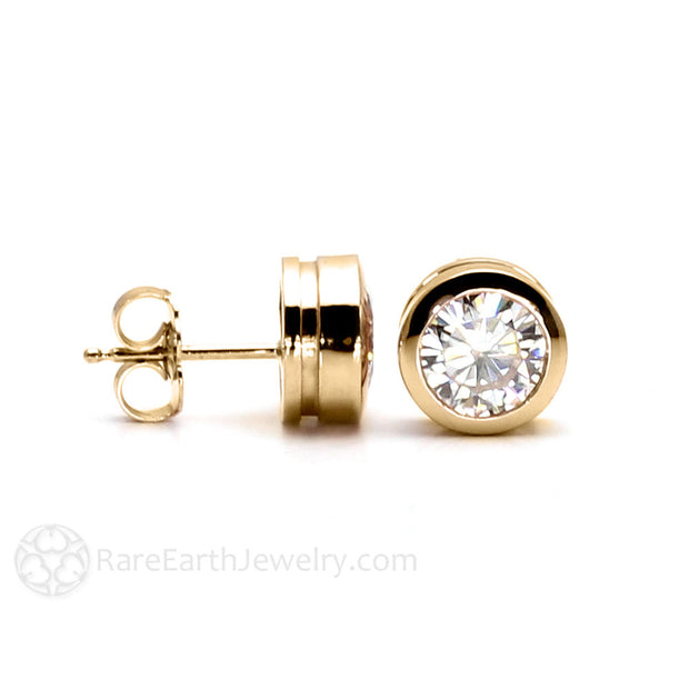 Rare Earth Jewelry 14K Round Forever One Moissanite Earrings Bezel Setting Post Stud Back