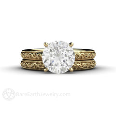 14K Round Moissanite Wedding Set 2ct Diamond Alternative Bridal Ring Rare Earth Jewelry