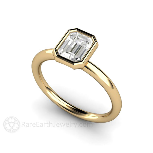 Rare Earth Jewelry 1ct Emerald Cut Diamond Anniversary Ring 14K or 18K GIA Certified