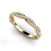 Criss Cross Diamond Twist Infinity Ring 14K Yellow Gold Rare Earth Jewelry