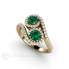 Emerald Cocktail Ring Round Cut Diamond Halo 18K Gold Rare Earth Jewelry