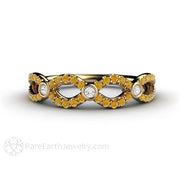 Rare Earth Jewelry Infinity Yellow Diamond Ring Wedding or Anniversary Band