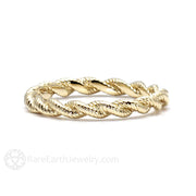 14K Gold Anniversary Ring Stacking Band Twist Style Rare Earth Jewelry
