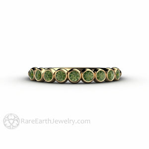 Rare Earth Jewelry Green Diamond Wedding Ring Bezel Set Anniversary Band