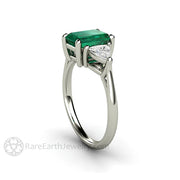Rare Earth Jewelry Three Stone Emerald Cut Green Emerald and White Sapphire Ring 14K or 18K Gold