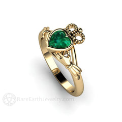 Green Emerald Claddagh Wedding or Anniversary Ring 14K Gold Bezel Setting Rare Earth Jewelry