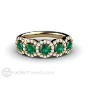 Rare Earth Jewelry Emerald Ring Round Cut 5 Stone with Diamonds 14K Gold