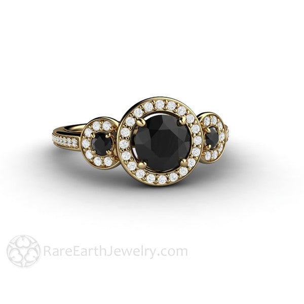 18K Gold Black Diamond Ring April Birthstone or Anniversary Gift Rare Earth Jewelry