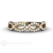 Rare Earth Jewelry Infinity Ring 14K Yellow Gold Round Cut Diamond Accent Stones