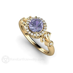 Round Cut Sapphire Diamond Halo Ring 14K Gold Rare Earth Jewelry