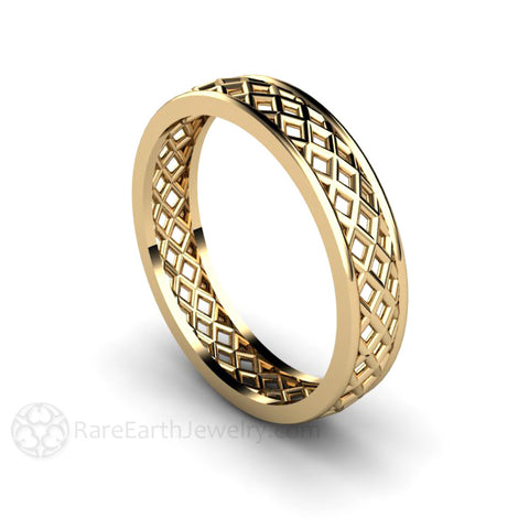 Woven Wedding Band 5mm Men's or Women's Ring in 14K Gold