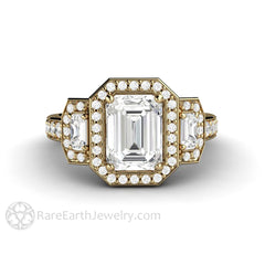 Rare Earth Jewelry 14K Yellow Gold Moissanite Ring Emerald Cut Forever One with Diamond Accents