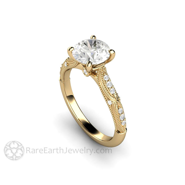 Rare Earth Jewelry 14K Moissanite Engagement Ring Conflict Free Diamond Alternative Bridal Jewelry