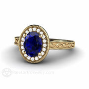 14K Art Deco Oval Blue Sapphire Solitaire Ring Diamond Halo Rare Earth Jewelry