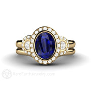 Rare Earth Jewelry 14K Oval Blue Sapphire Bridal Set Halo 3 Stone Engagement Ring