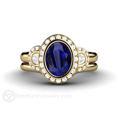 14K Oval Blue Sapphire Bridal Set Halo 3 Stone Engagement Ring Rare Earth Jewelry
