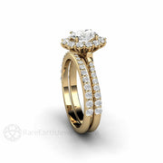 Rare Earth Jewelry 14K Forever One Moissanite Bridal Ring Set 1ct Oval Cut Halo Engagement Ring Diamond Accented Wedding Band