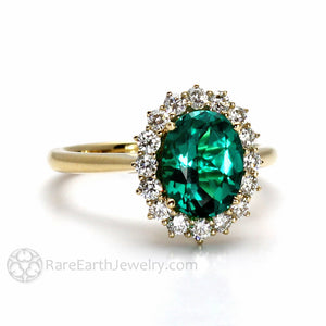 Rare Earth Jewelry Oval Emerald Ring with Diamond Halo Engagement or Anniversary 14K Gold
