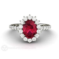 Oval Ruby Ring Cluster Halo White Gold Rare Earth Jewelry