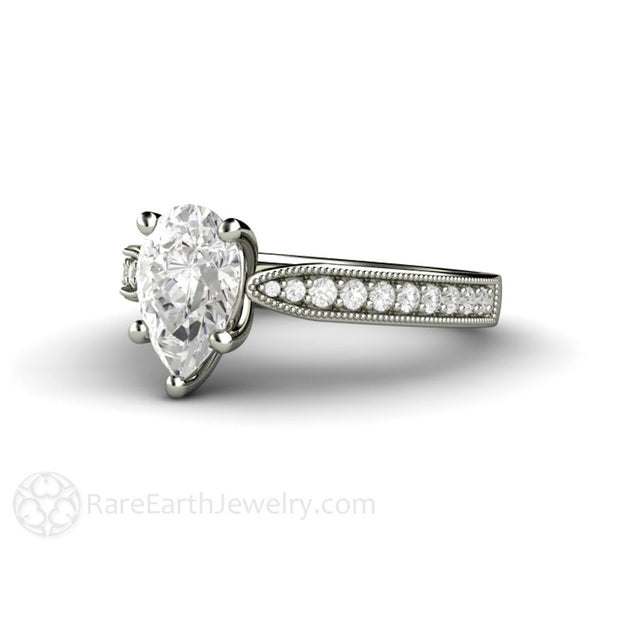 Rare Earth Jewelry 1.5ct Pear Shaped Charles & Colvard Forever One Moissanite Anniversary Ring 14K White Gold
