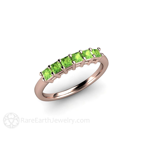 Rose Gold Peridot Stacking Band Rare Earth Jewelry