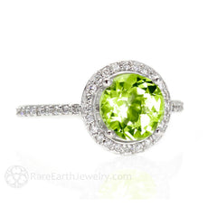 Peridot Engagement Ring with Diamond Halo Rare Earth Jewelry