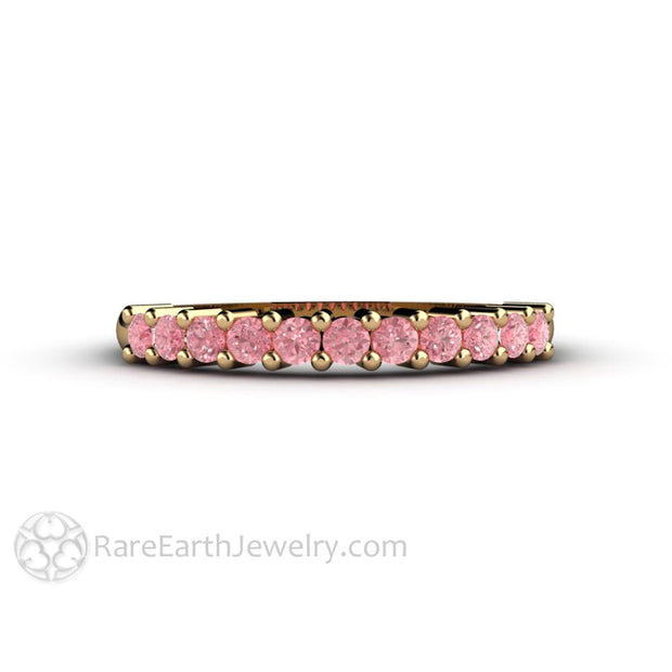 Pink Diamond April Birthstone Ring Stackable Band 14K Gold Rare Earth Jewelry