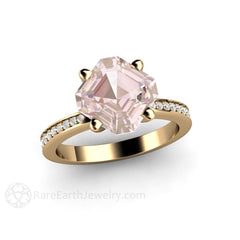 Rare Earth Jewelry 14K Yellow Gold Morganite Wedding Ring 2ct Asscher Cut