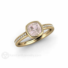 14K Cushion Pink Sapphire Solitaire Anniversary or Right Hand Ring Rare Earth Jewelry
