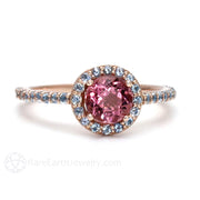 Rare Earth Jewelry Pink Tourmaline Ring with Aquamarine Halo 14K Gold