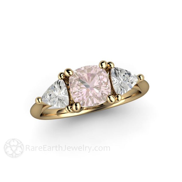 14K Pink Sapphire Ring Vintage Antique Design Cushion and Trillions Rare Earth Jewelry