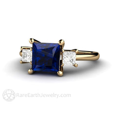Rare Earth Jewelry 18K Princess Cut Blue Sapphire and Diamonds Wedding Ring