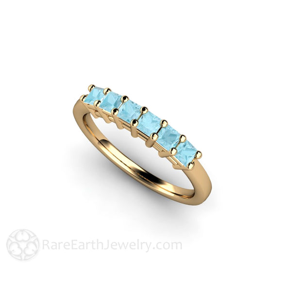14K Aquamarine Anniversary Ring Princess Cut Natural Blue Gemstones Rare Earth Jewelry