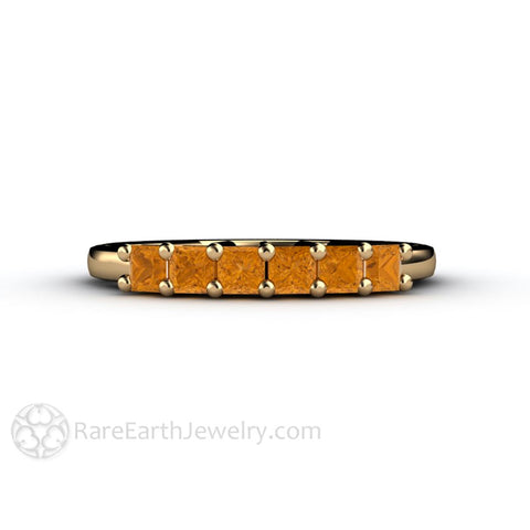 Citrine Princess 6 Stone Anniversary Band Stacking Ring November Birthstone