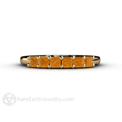 Rare Earth Jewelry Citrine Princess Cut 6 Stone Ring 14K or 18K Gold