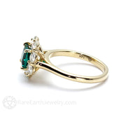 14K Green Emerald Moissanite Halo Ring May Birthstone Rare Earth Jewelry