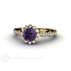 Round Cut Natural Purple Sapphire Halo Ring Vintage Design Rare Earth Jewelry