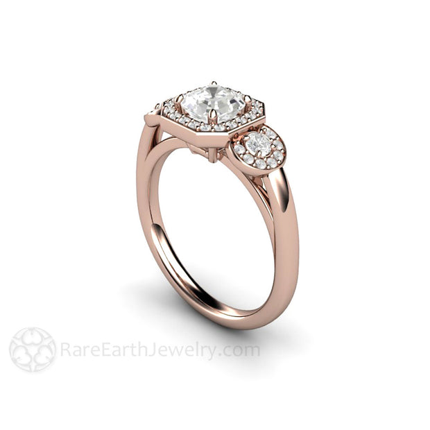 White Sapphire Engagement Ring 3 Stone Halo Setting Rare Earth Jewelry