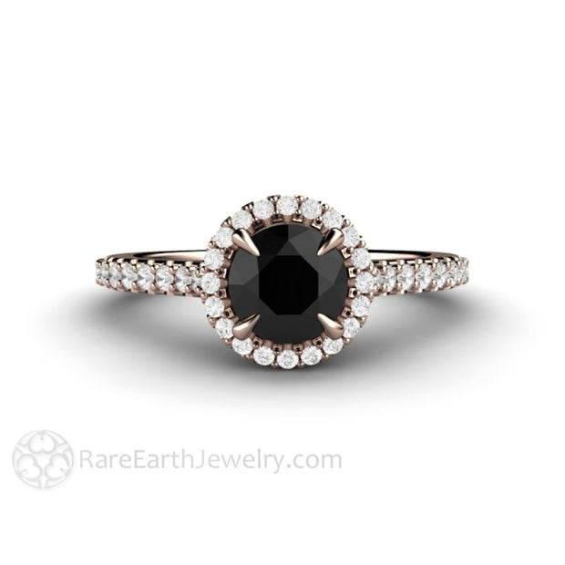 Rare Earth Jewelry Black Diamond Engagement Ring 6mm Round Cut 14K Rose Gold Halo Setting