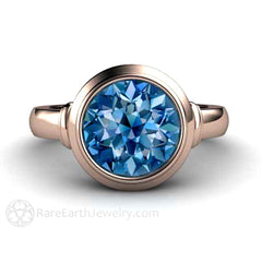 Blue Spinel Anniversary Ring 14K Rose Gold Bezel Setting