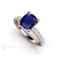 September Birthstone Cushion Blue Sapphire and Diamond Ring 14K Rose Gold Setting Rare Earth Jewelry