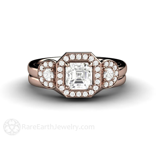 Rose Gold 3 Stone White Sapphire Halo Bridal Set Plain Band Rare Earth Jewelry