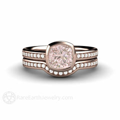 Pink Sapphire and Diamond Bridal Set Cushion Bezel Engagement Diamond Band 14K Rose Gold Rare Earth Jewelry