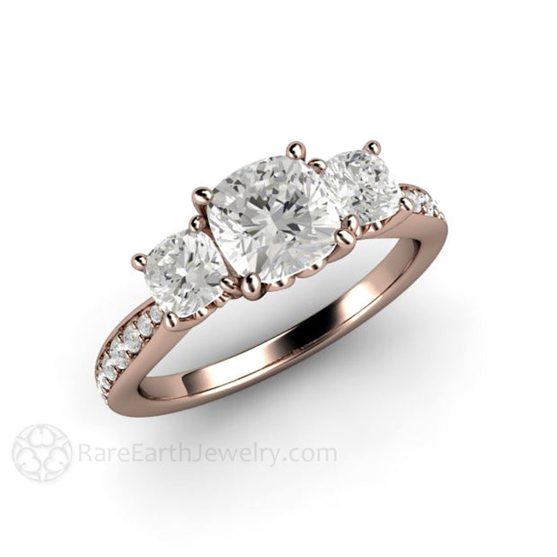 Rare Earth Jewelry Forever One Moissanite Engagement Ring Cushion Cut 3 Stone 18K Rose Gold Setting