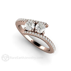 14K Rose Gold Round Cut Two Stone Diamond Anniversary Ring Rare Earth Jewelry
