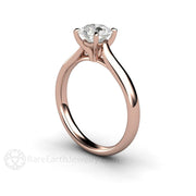 Rare Earth Jewelry Diamond Solitaire Engagement Ring Round Cut 14K Rose Gold GIA Certified
