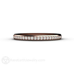 18K Rose Gold Diamond Wedding Anniversary Ring Rare Earth Jewelry