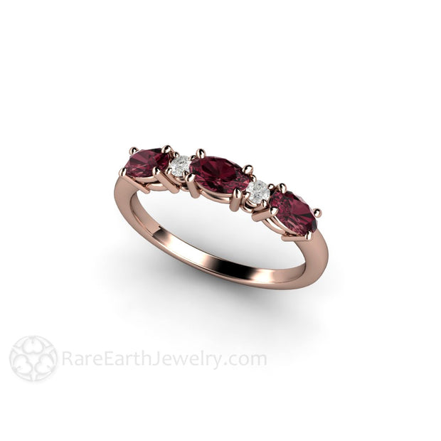 Rhodolite Garnet Stacking Ring Rose Gold Setting Rare Earth Jewelry