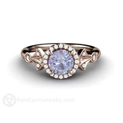 Rose Gold Round Cut Halo Color Change Sapphire Ring Vintage Style Rare Earth Jewelry